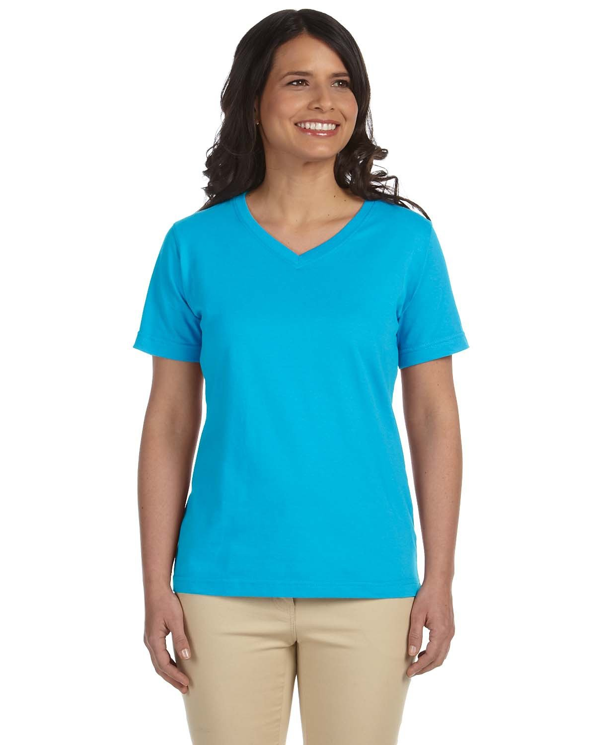 LAT Ladies' Premium Jersey V-Neck T-Shirt AQUA