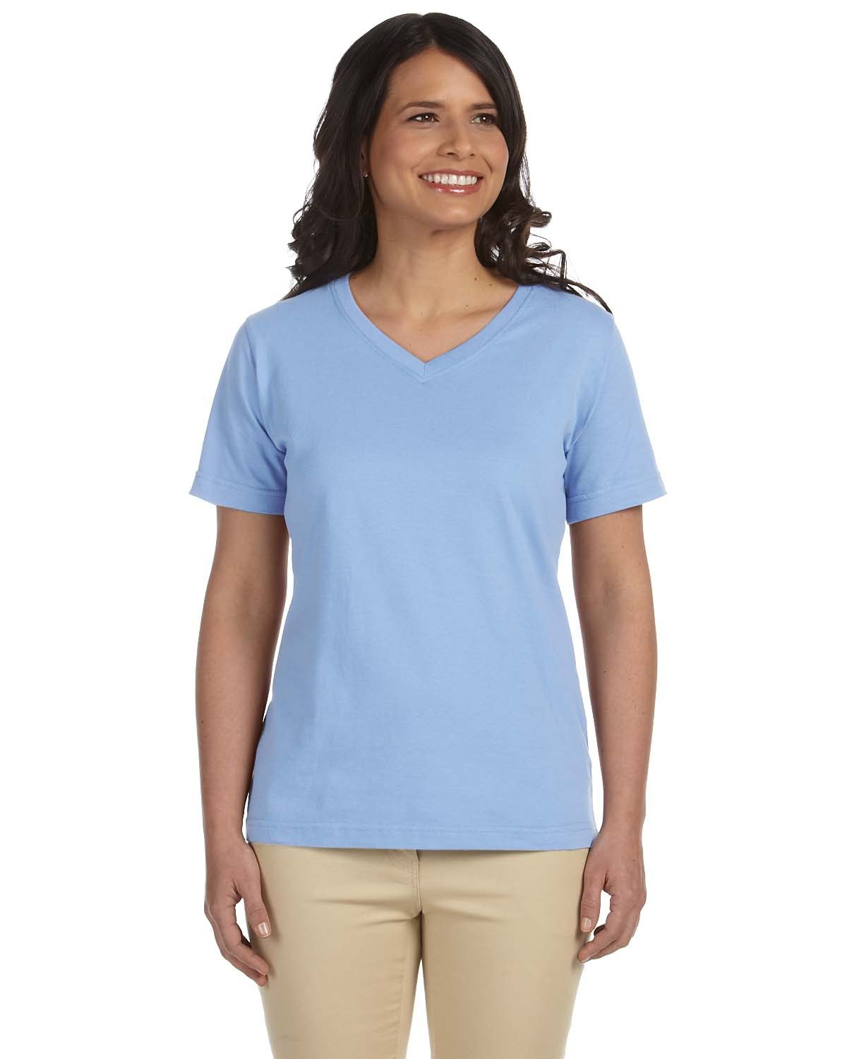 LAT Ladies' Premium Jersey V-Neck T-Shirt LIGHT BLUE
