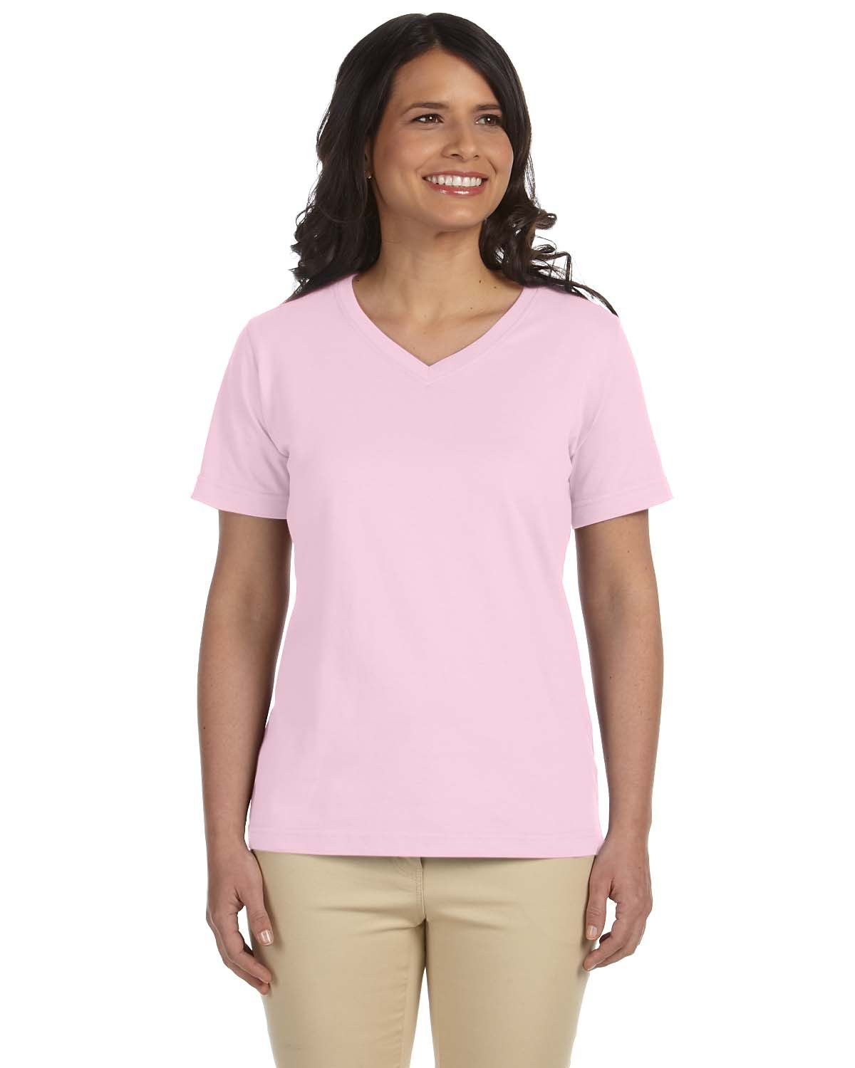 LAT Ladies' Premium Jersey V-Neck T-Shirt PINK