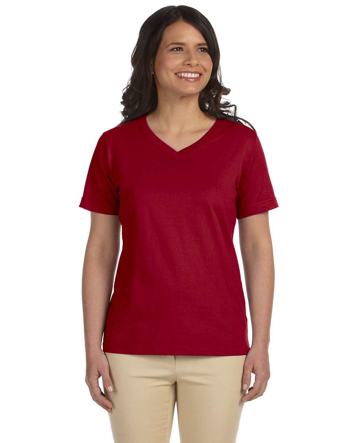 LAT Ladies' Premium Jersey V-Neck T-Shirt GARNET
