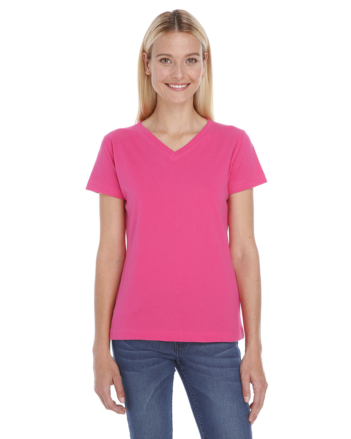 LAT Ladies' Premium Jersey V-Neck T-Shirt HOT PINK