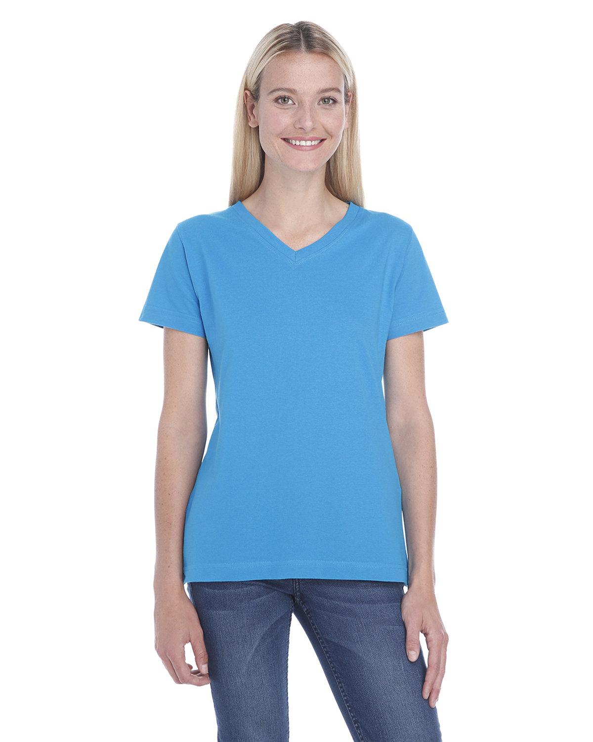 LAT Ladies' Premium Jersey V-Neck T-Shirt COBALT