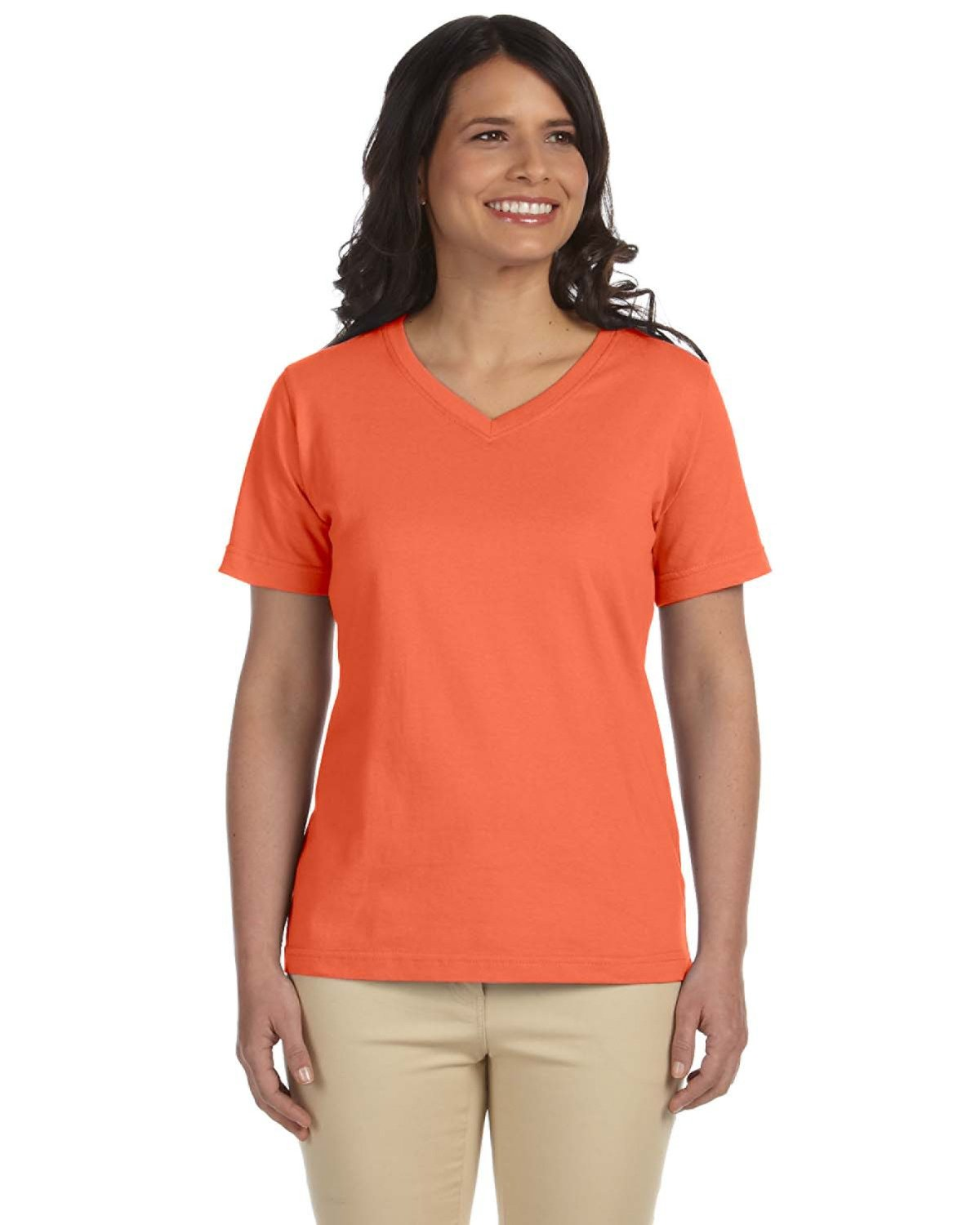 LAT Ladies' Premium Jersey V-Neck T-Shirt PAPAYA