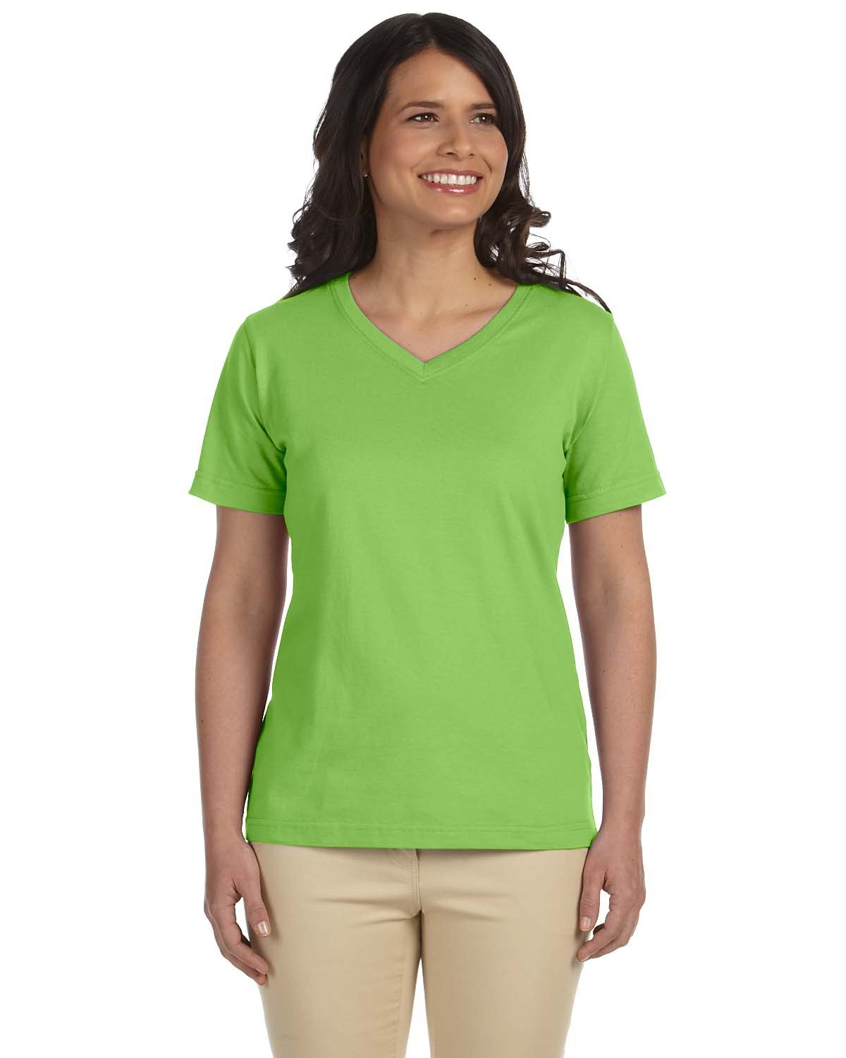 LAT Ladies' Premium Jersey V-Neck T-Shirt KEY LIME