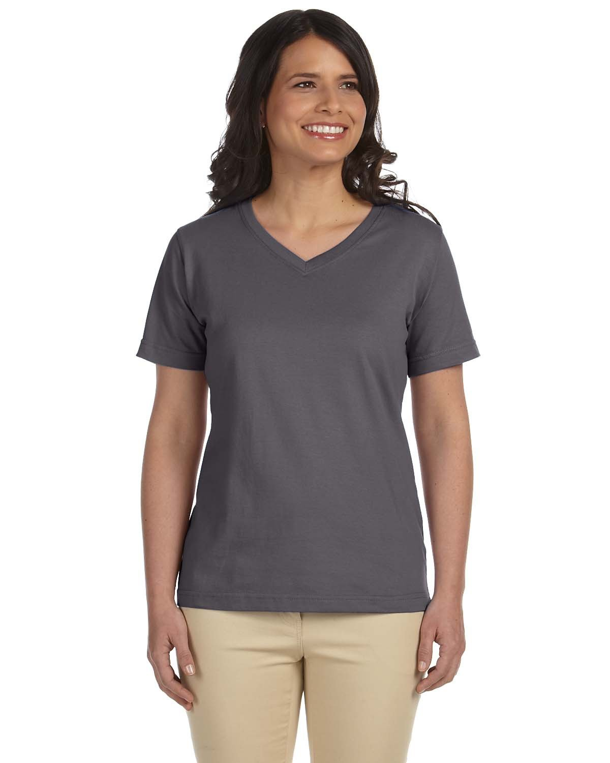 LAT Ladies' Premium Jersey V-Neck T-Shirt CHARCOAL