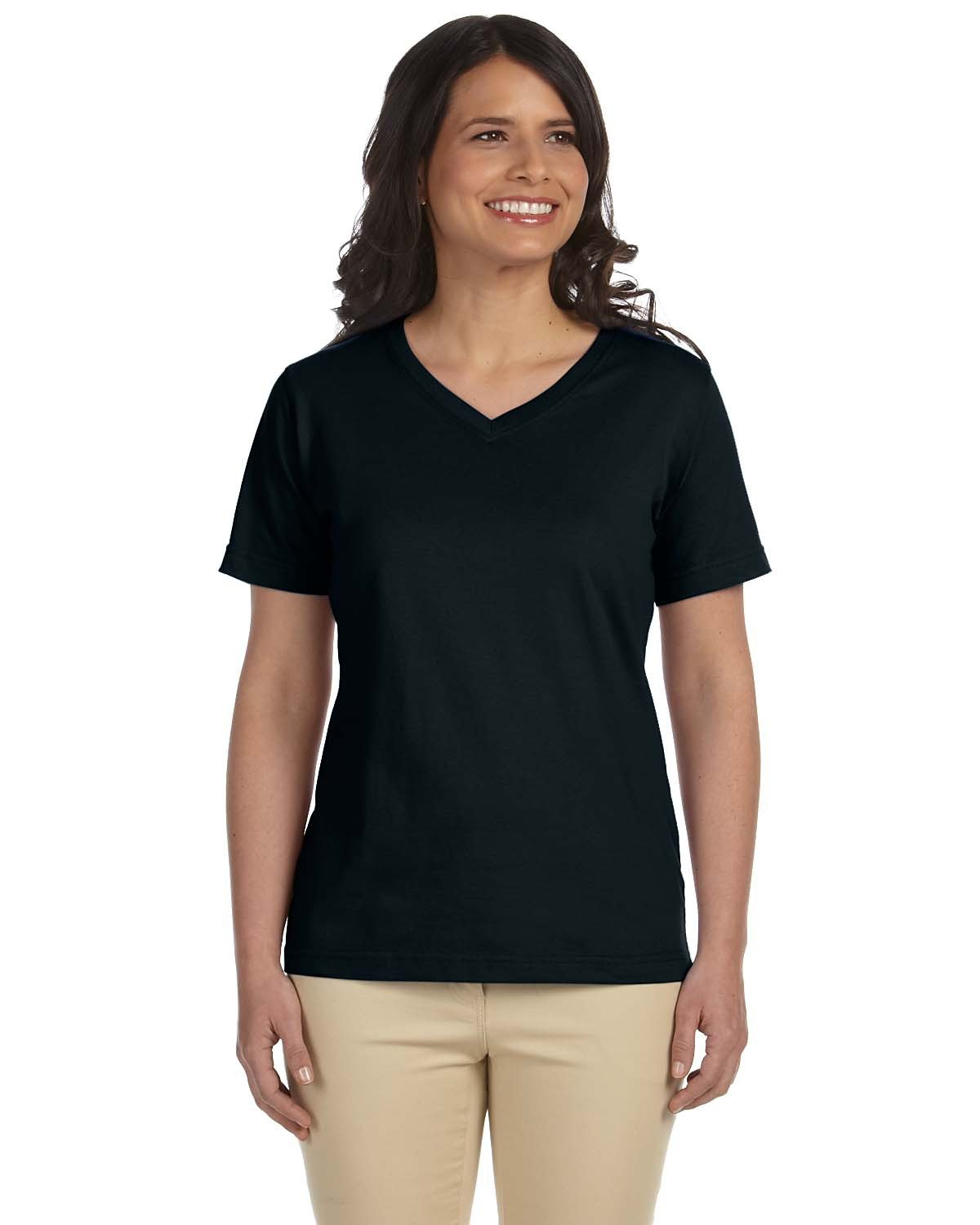 LAT Ladies' Premium Jersey V-Neck T-Shirt BLACK