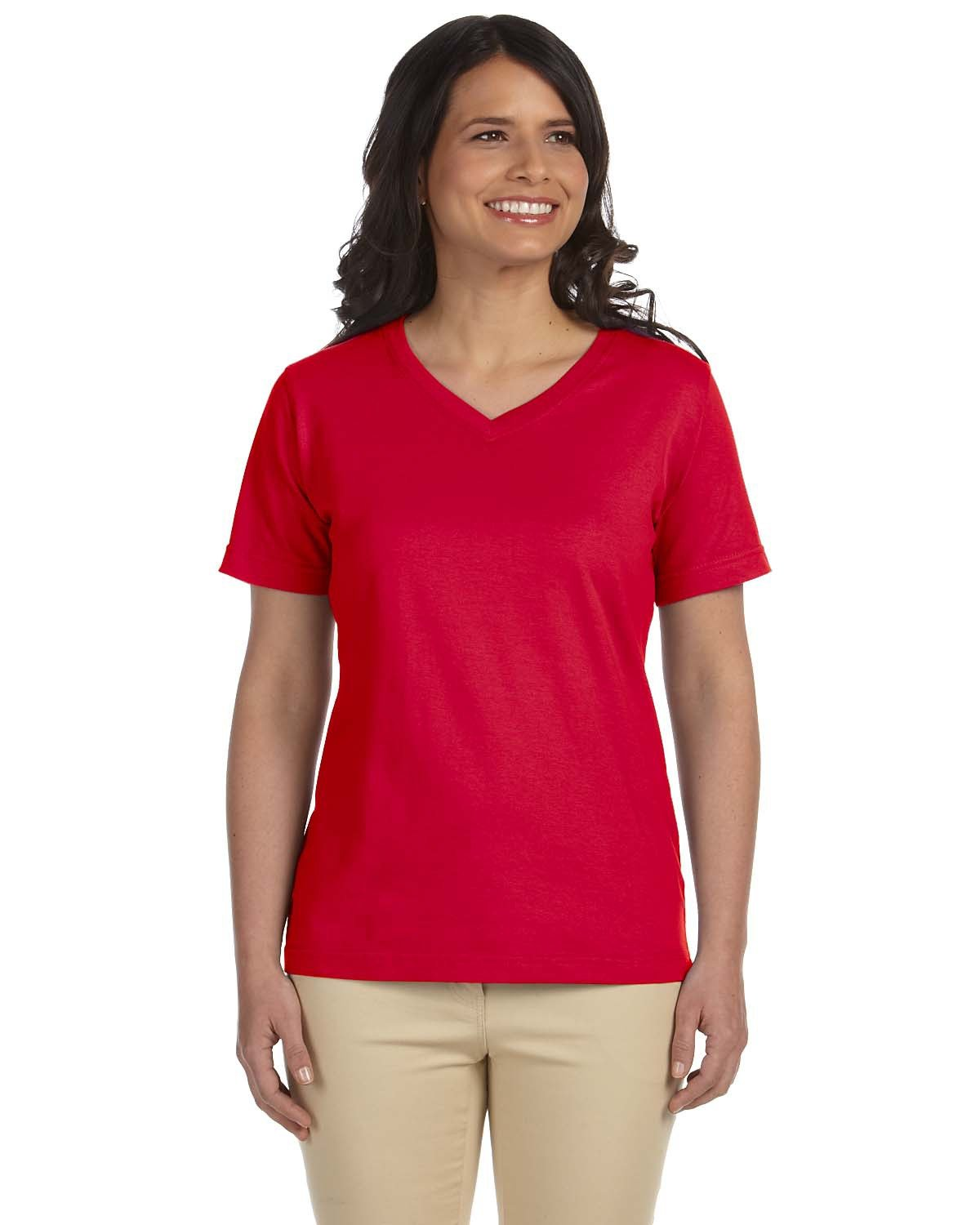 LAT Ladies' Premium Jersey V-Neck T-Shirt RED
