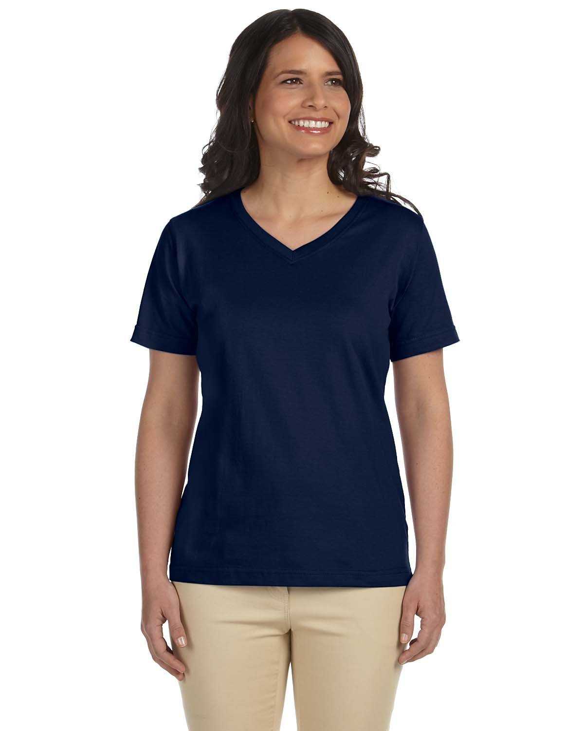 LAT Ladies' Premium Jersey V-Neck T-Shirt NAVY