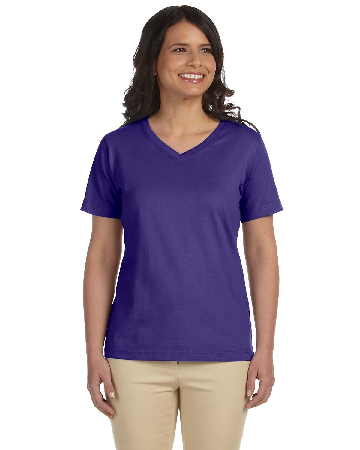 LAT Ladies' Premium Jersey V-Neck T-Shirt PURPLE