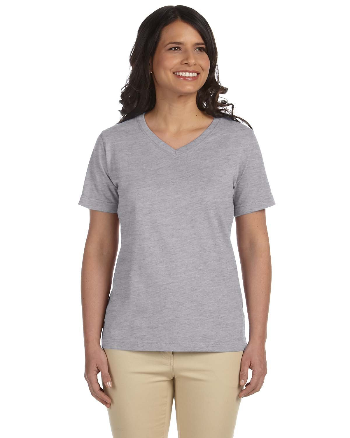 LAT Ladies' Premium Jersey V-Neck T-Shirt HEATHER