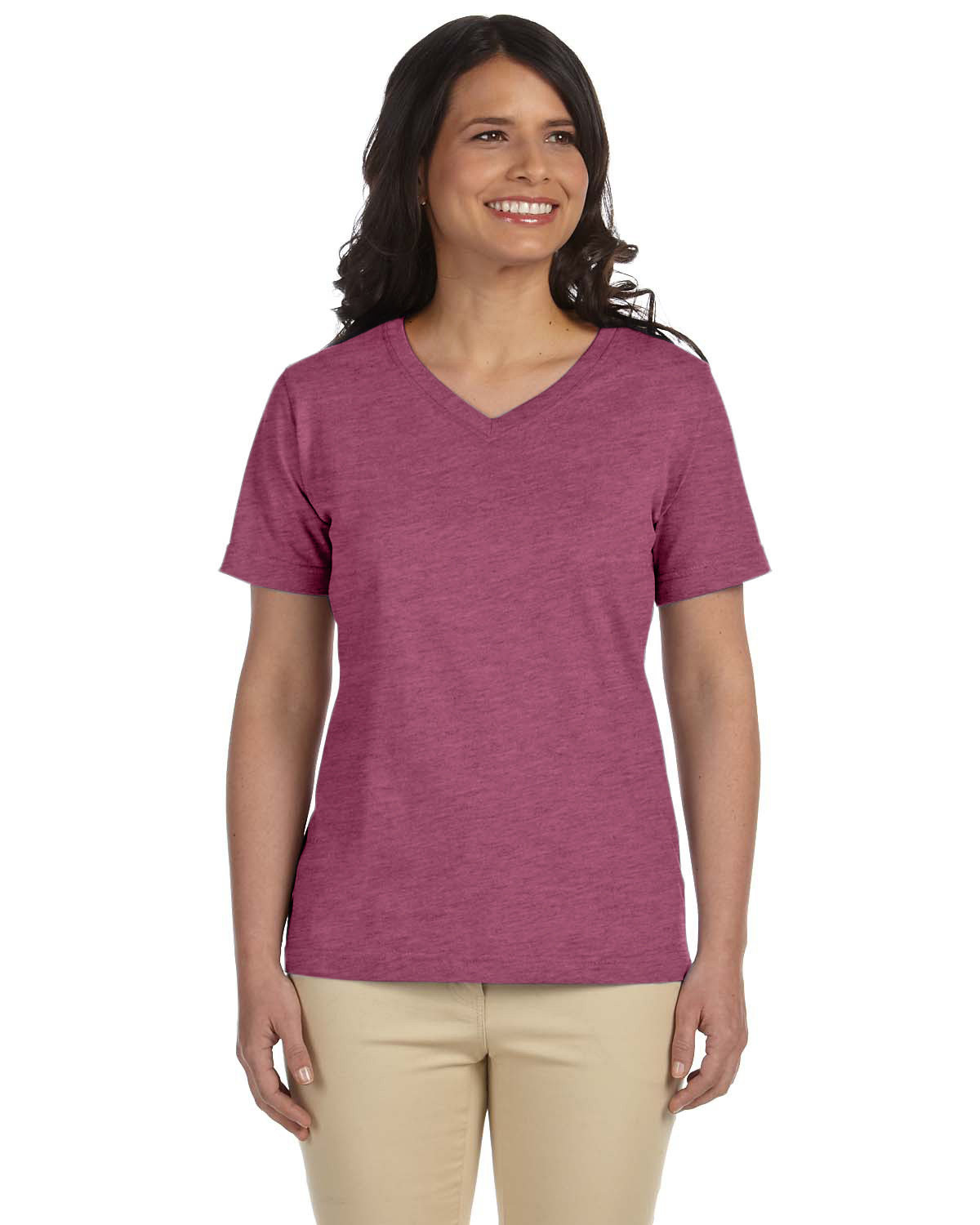 LAT Ladies' Premium Jersey V-Neck T-Shirt VINTAGE BURGUNDY