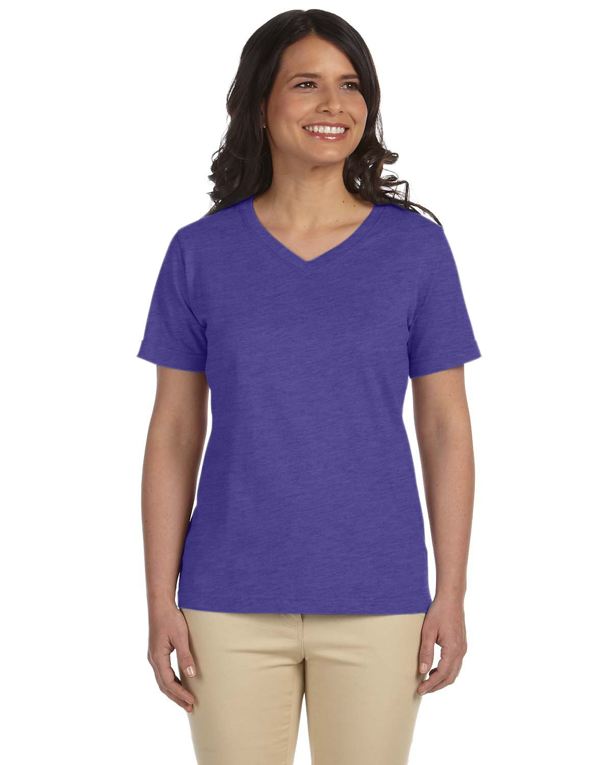 LAT Ladies' Premium Jersey V-Neck T-Shirt VINTAGE PURPLE