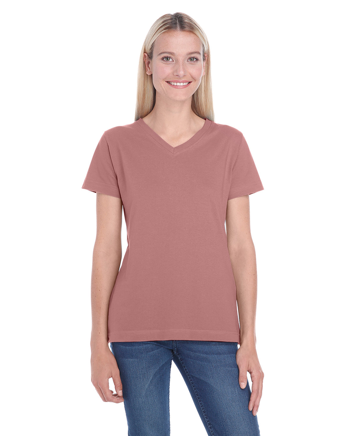 LAT Ladies' Premium Jersey V-Neck T-Shirt MAUVELOUS