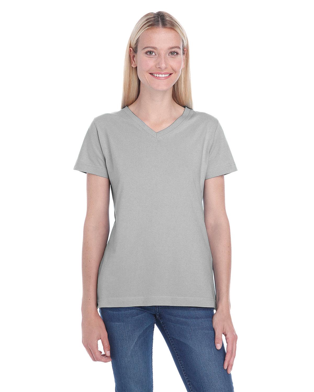 LAT Ladies' Premium Jersey V-Neck T-Shirt TITANIUM