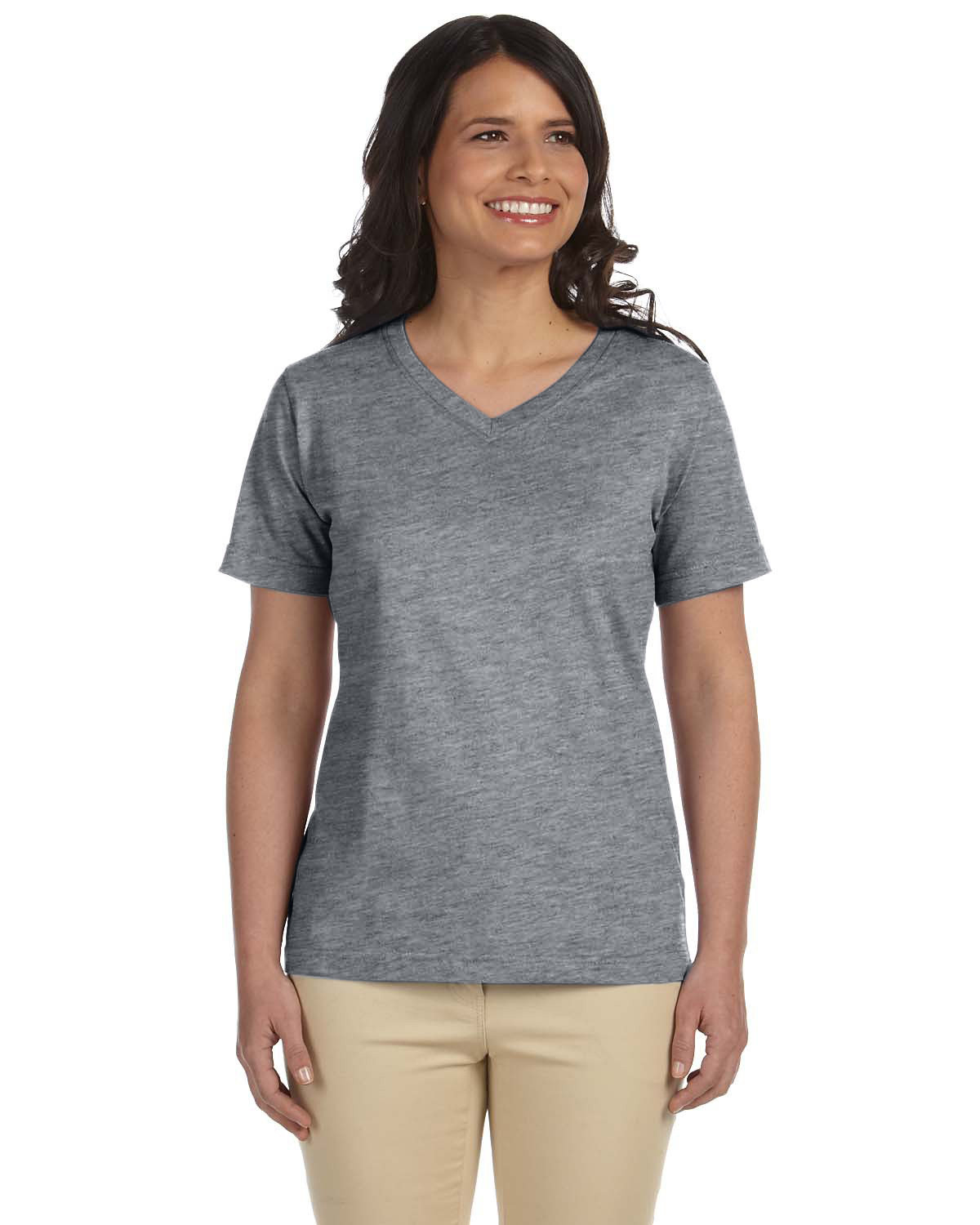 LAT Ladies' Premium Jersey V-Neck T-Shirt GRANITE HEATHER