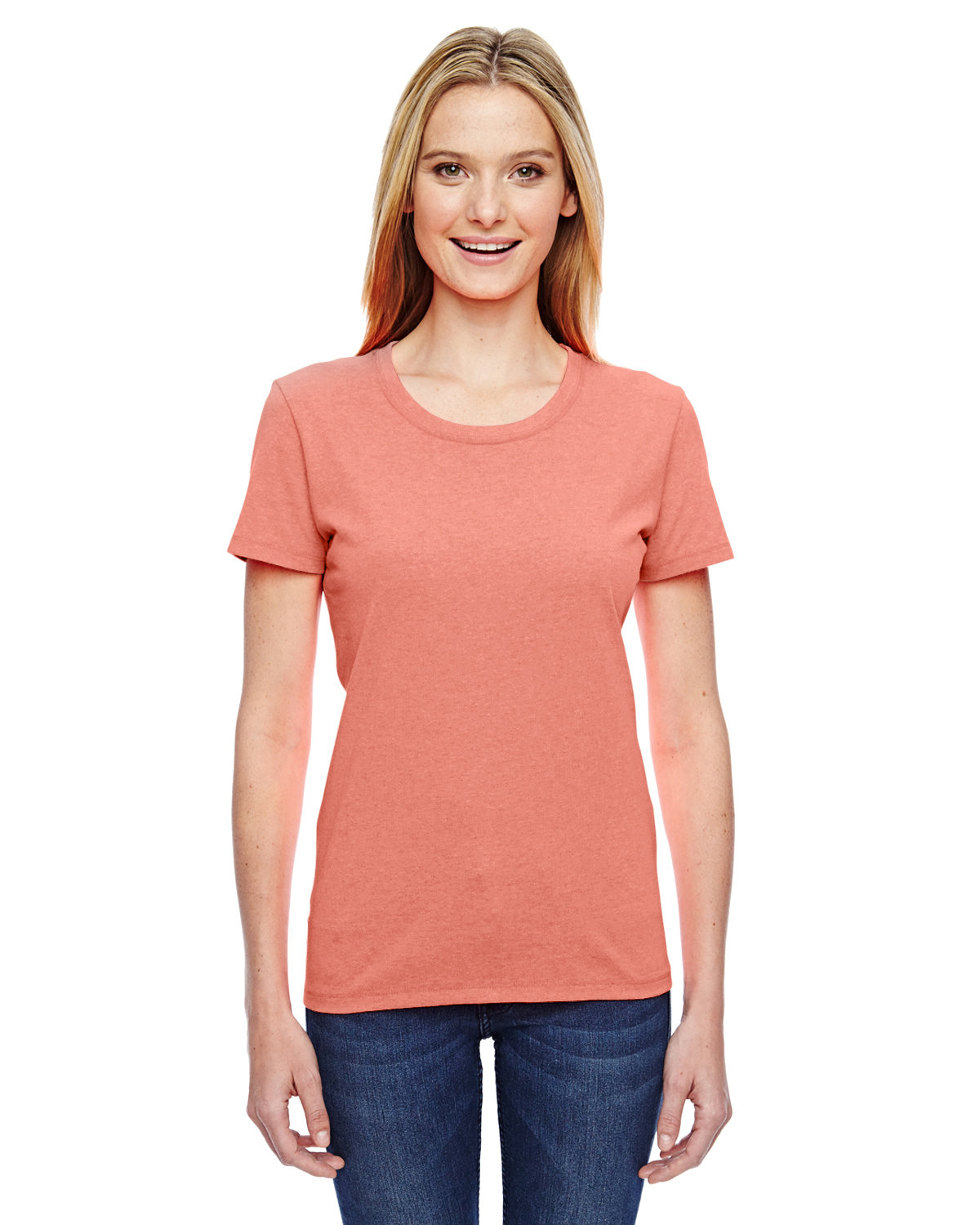 Fruit of the Loom Ladies' HD Cotton™ T-Shirt RETRO HTR CORAL