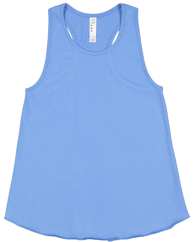 LAT Girls' Relaxed Racerback Tank CAROLINA BLUE