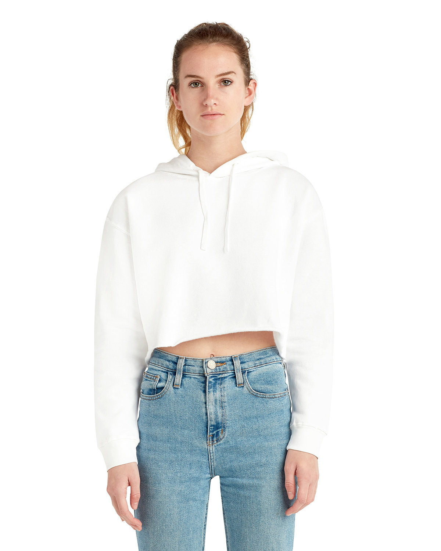 Lane Seven Ladies' Cropped Fleece Hoodie WHITE
