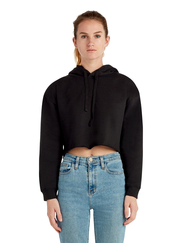 Lane Seven Ladies' Cropped Fleece Hoodie BLACK