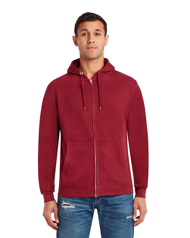 Lane Seven Unisex Premium Full-Zip Hooded Sweatshirt BURGUNDY