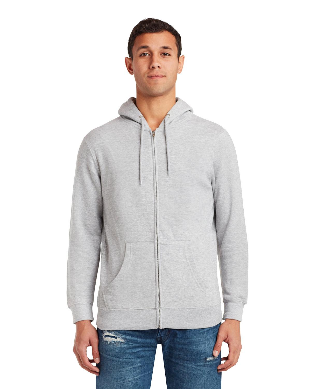 Lane Seven Unisex Premium Full-Zip Hooded Sweatshirt HEATHER GREY