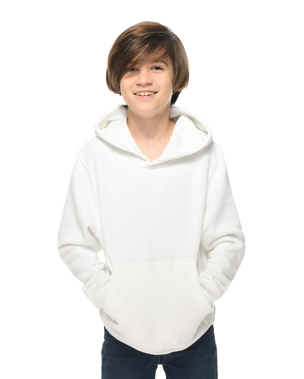 Lane Seven Youth Premium Pullover Hooded Sweatshirt WHITE