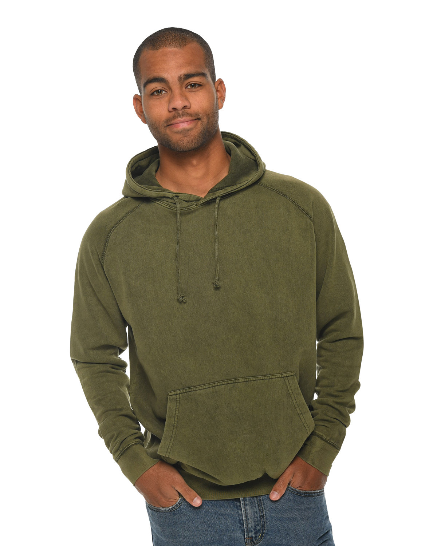Lane Seven Unisex Vintage Raglan Hooded Sweatshirt OLIVE