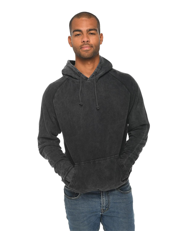 Lane Seven Unisex Vintage Raglan Hooded Sweatshirt BLACK