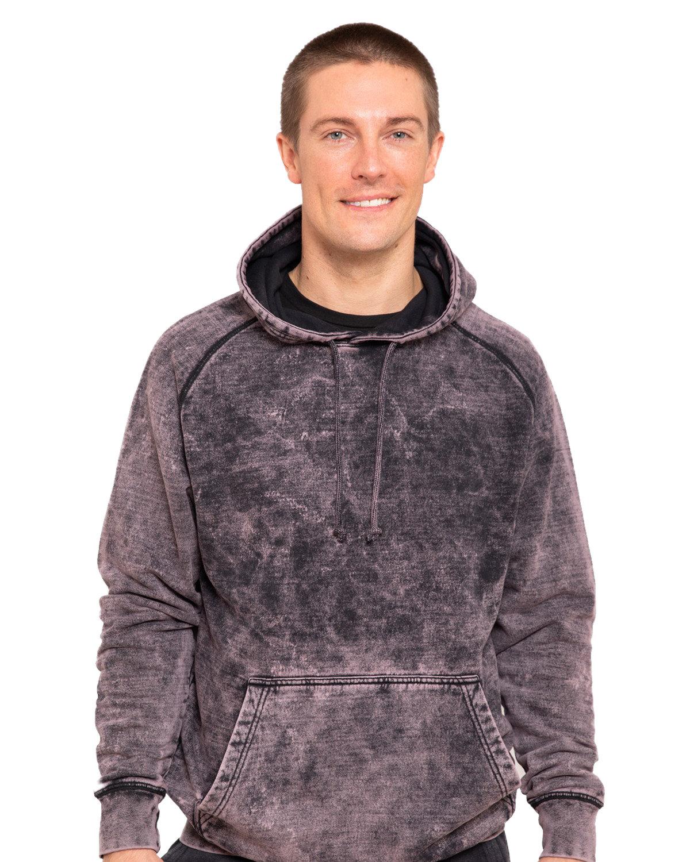 Lane Seven Unisex Vintage Raglan Hooded Sweatshirt CLOUD BLACK