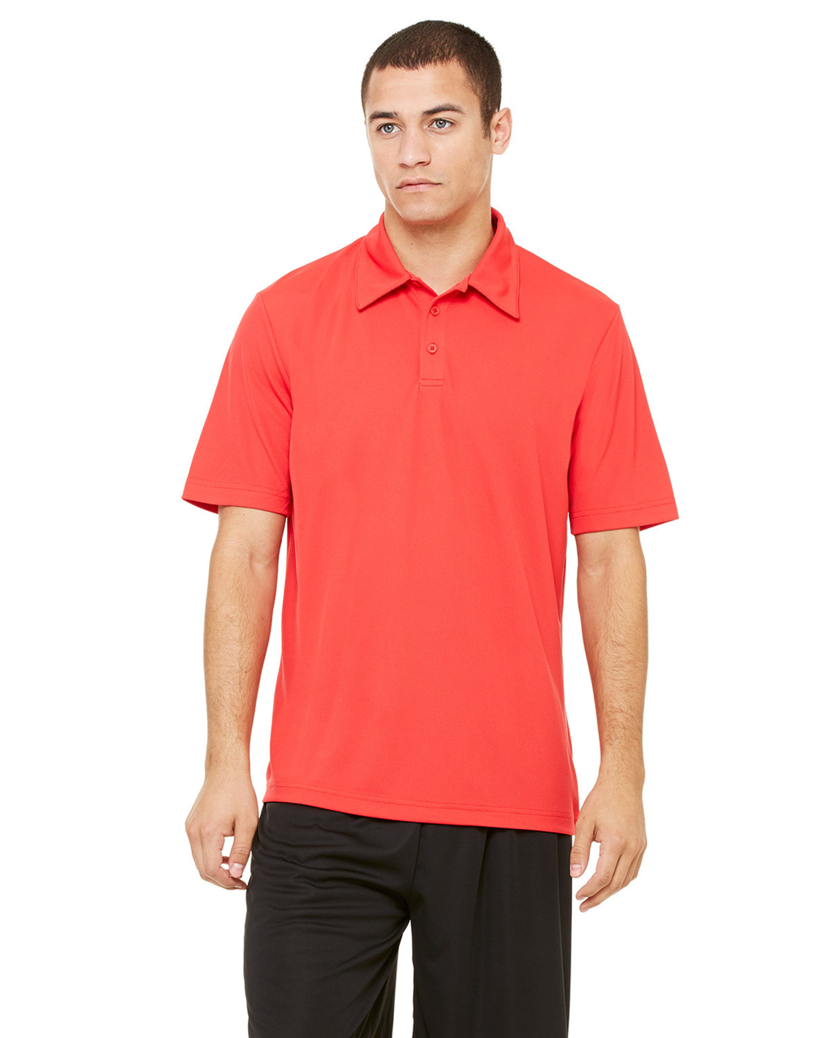 All Sport Unisex Performance Three-Button Mesh Polo SPORT RED