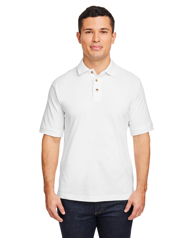 Harriton Men's 6 oz. Ringspun Cotton Piqué Short-Sleeve Polo WHITE