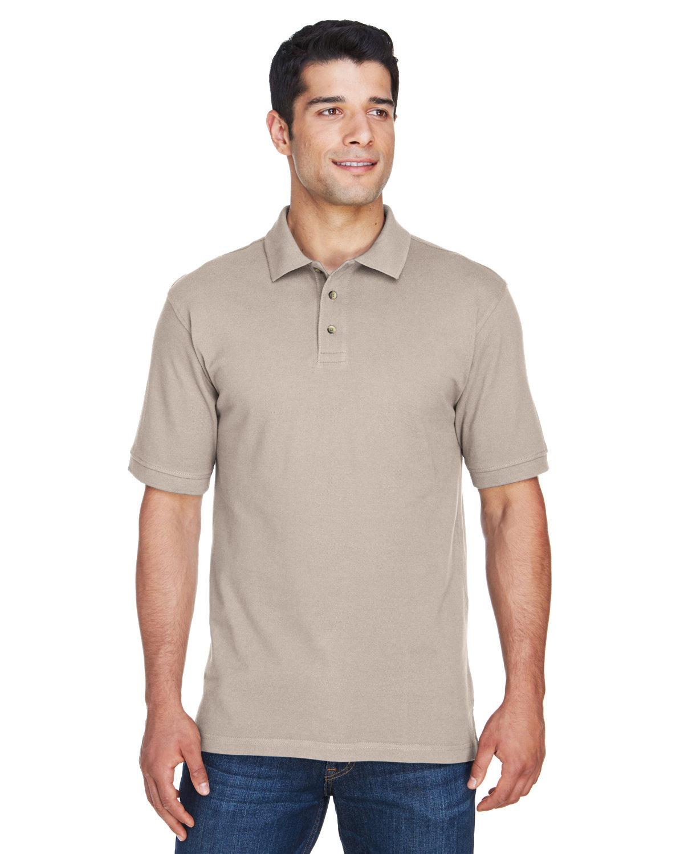 Harriton Men's 6 oz. Ringspun Cotton Piqué Short-Sleeve Polo STONE
