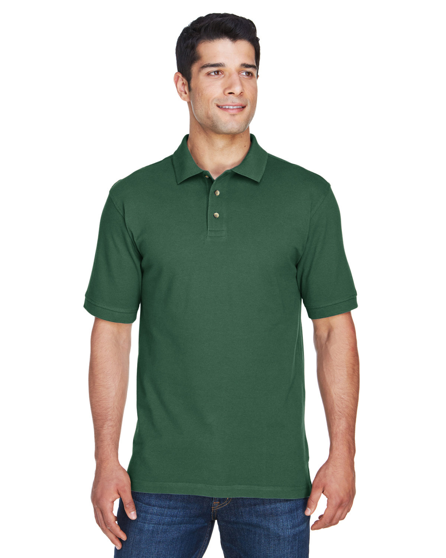 Harriton Men's 6 oz. Ringspun Cotton Piqué Short-Sleeve Polo DARK GREEN