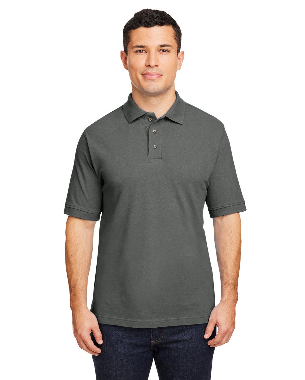 Harriton Men's 6 oz. Ringspun Cotton Piqué Short-Sleeve Polo CHARCOAL