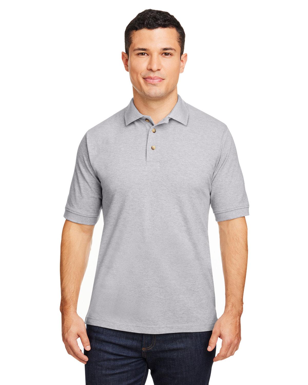 Harriton Men's 6 oz. Ringspun Cotton Piqué Short-Sleeve Polo GREY HEATHER
