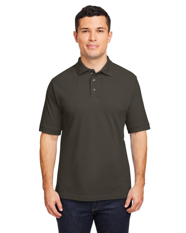 Harriton Men's 6 oz. Ringspun Cotton Piqué Short-Sleeve Polo BLACK