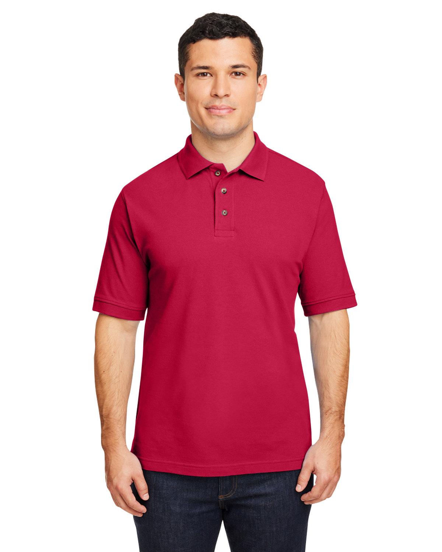 Harriton Men's 6 oz. Ringspun Cotton Piqué Short-Sleeve Polo RED