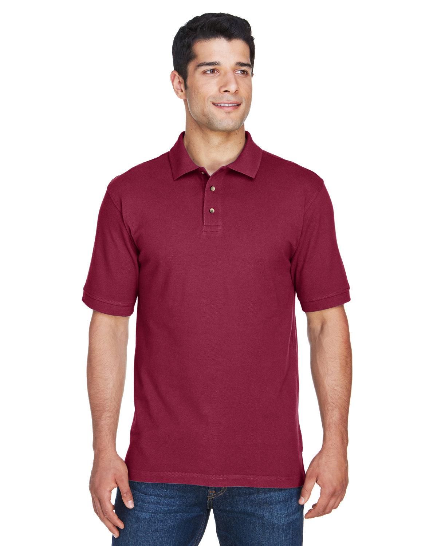 Harriton Men's 6 oz. Ringspun Cotton Piqué Short-Sleeve Polo WINE