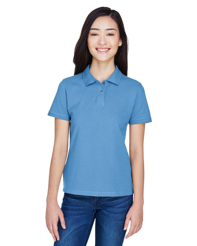 Harriton Ladies' 6 oz. Ringspun Cotton Piqué Short-Sleeve Polo LT COLLEGE BLUE