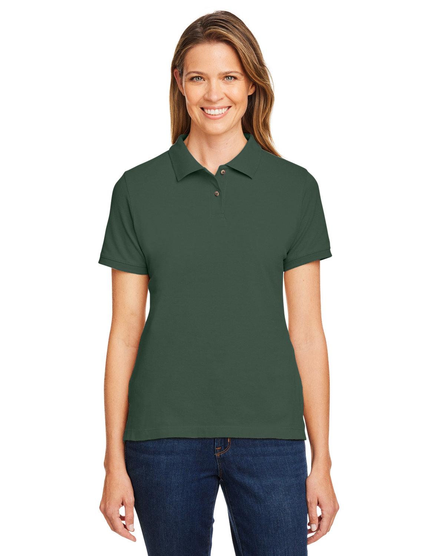 Harriton Ladies' 6 oz. Ringspun Cotton Piqué Short-Sleeve Polo DARK GREEN