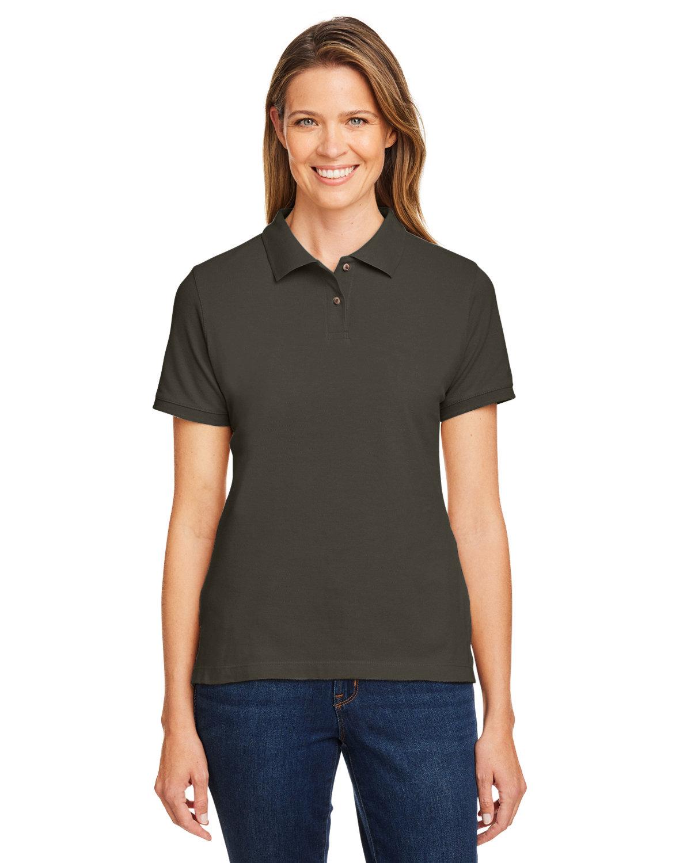 Harriton Ladies' 6 oz. Ringspun Cotton Piqué Short-Sleeve Polo BLACK