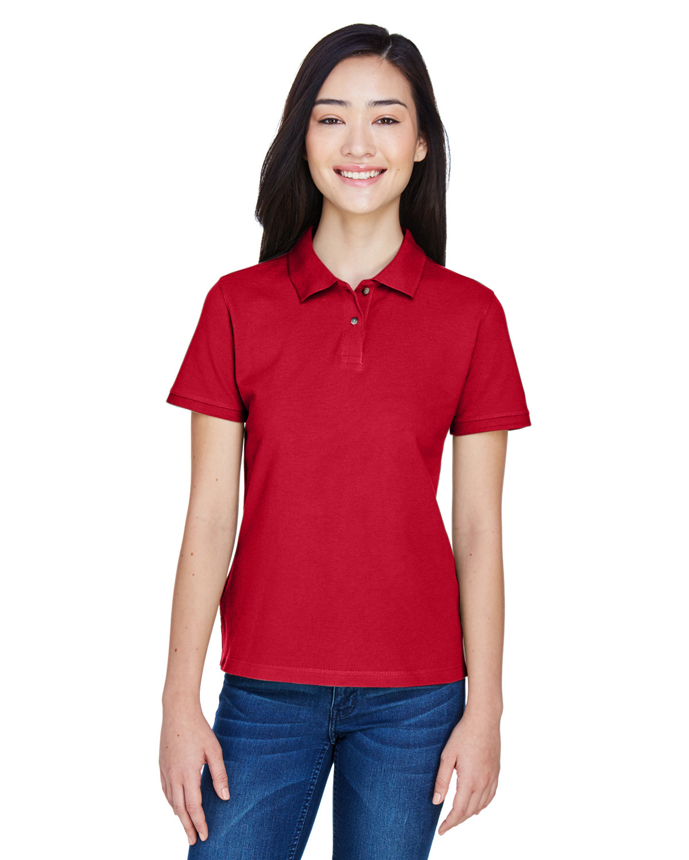 Harriton Ladies' 6 oz. Ringspun Cotton Piqué Short-Sleeve Polo RED