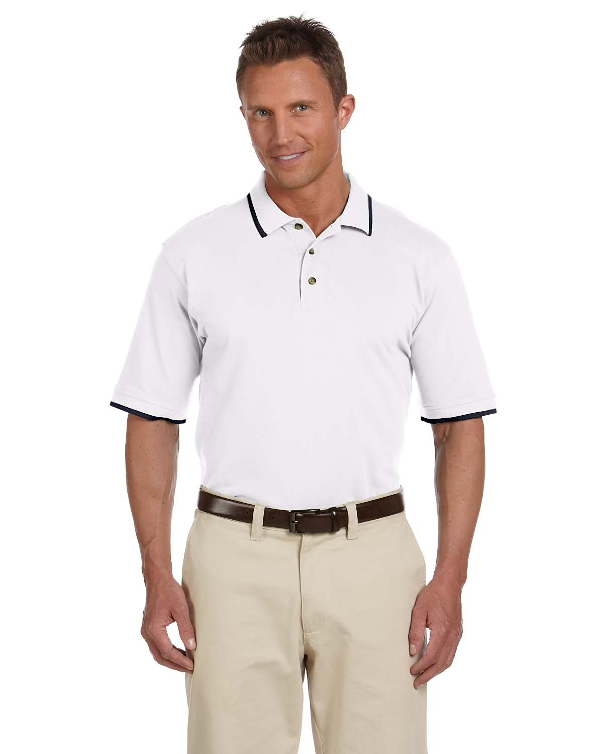 Harriton Adult 6 oz. Short-Sleeve Piqué Polo with Tipping WHITE/ NAVY