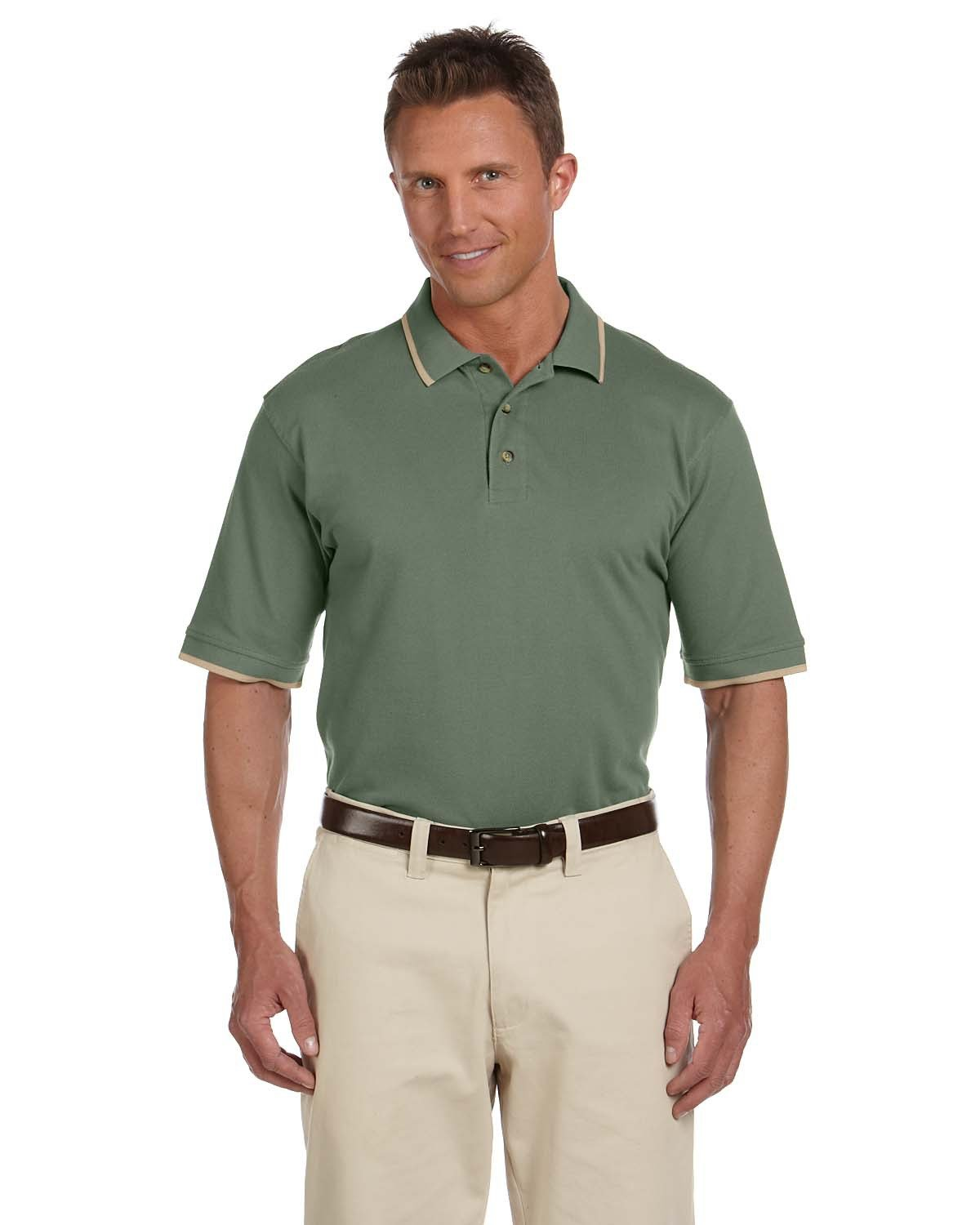 Harriton Adult 6 oz. Short-Sleeve Piqué Polo with Tipping DILL/ STONE