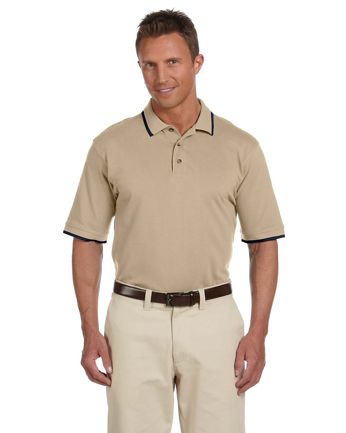 Harriton Adult 6 oz. Short-Sleeve Piqué Polo with Tipping STONE/ NAVY
