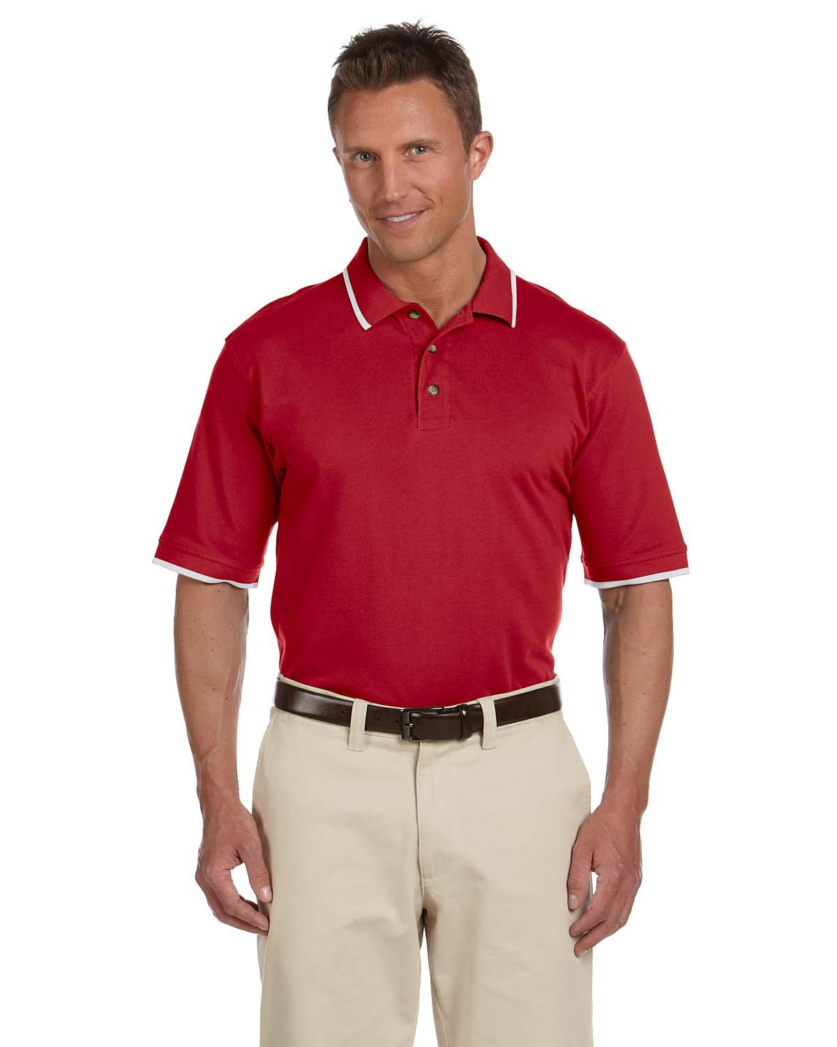 Harriton Adult 6 oz. Short-Sleeve Piqué Polo with Tipping RED/ WHITE