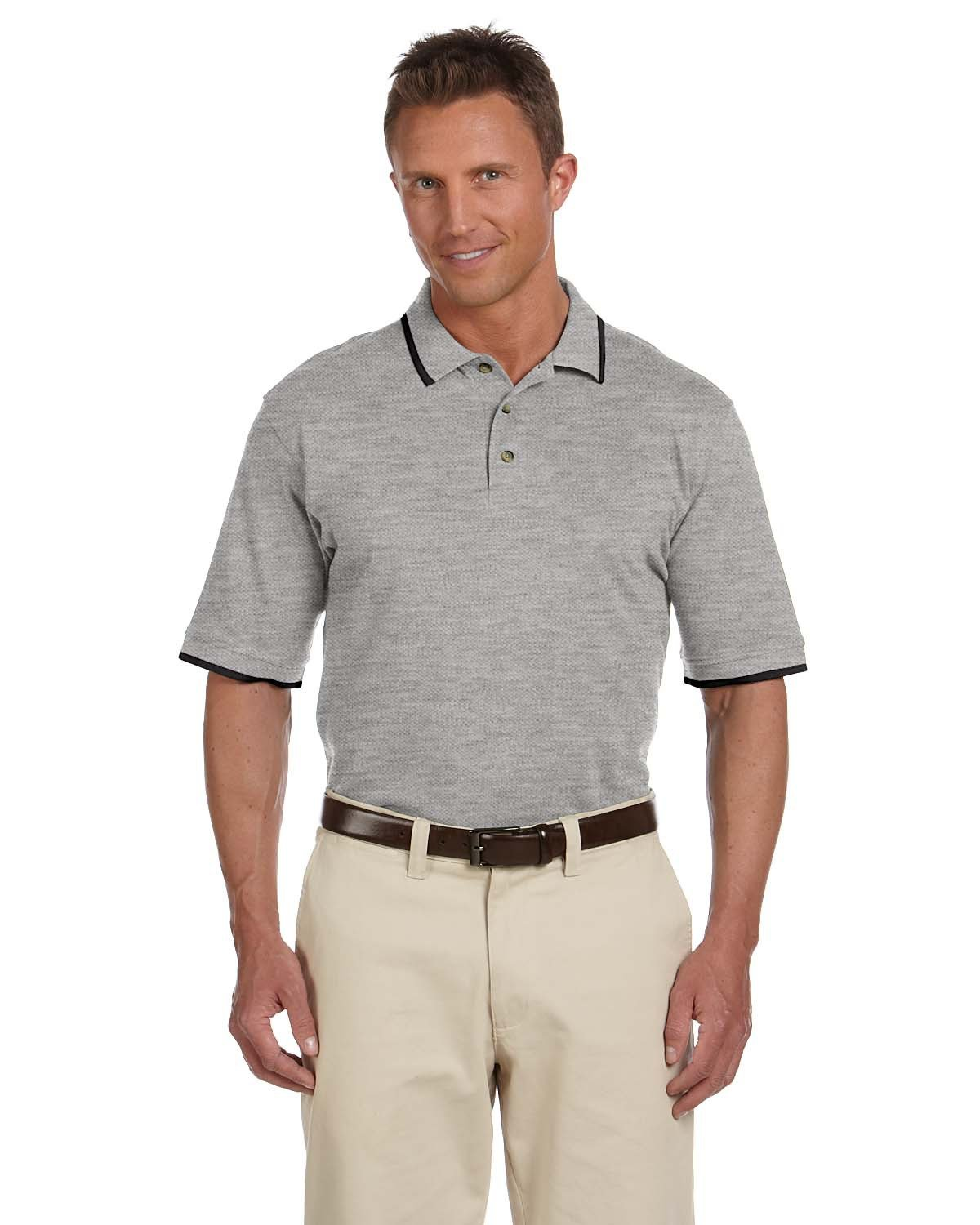 Harriton Adult 6 oz. Short-Sleeve Piqué Polo with Tipping GREY HTH/ BLACK
