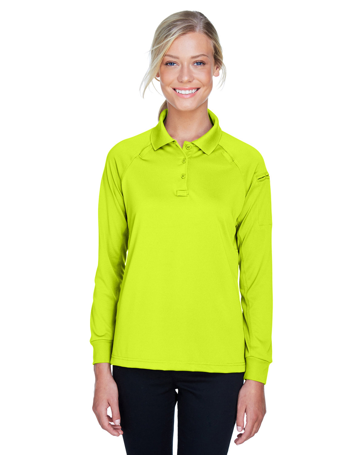Harriton Ladies' Advantage Snag Protection Plus Long-Sleeve Tactical Polo SAFETY YELLOW