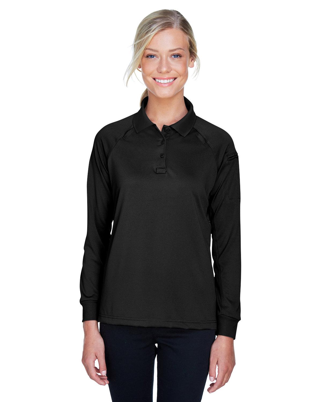 Harriton Ladies' Advantage Snag Protection Plus Long-Sleeve Tactical Polo BLACK