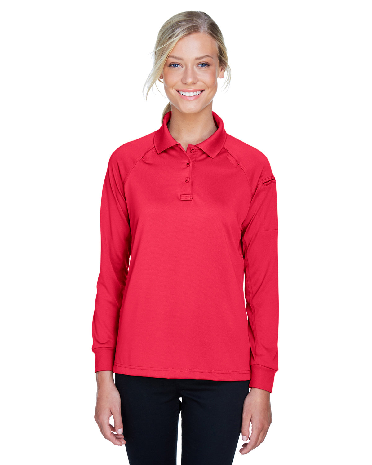 Harriton Ladies' Advantage Snag Protection Plus Long-Sleeve Tactical Polo RED